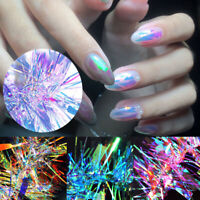3D Holographic Glass Paper Transfer Foils Decals Nail Art Stickers Tips Manicure
