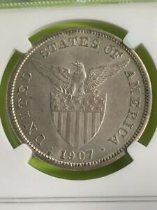 US PHILIPPINES 1907-S ONE PESO NGC MS 62 LUSTROUS