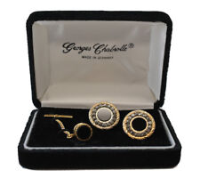 Vtg Georges Chabrolle Cufflinks and Tie pin set Black Onyx w/ crystals gold tone