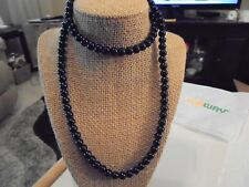 """PEARL GLASS NECKLACE 8MM BLACK 30"""" W/MATCHING PIERCED EARRING 1/2"""""""