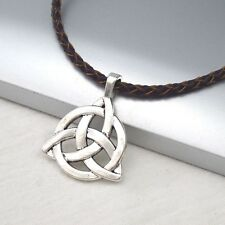 Vintage Silver Alloy Celtic Knot Pendant Braided Brown Leather Necklace