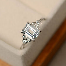 1ct Emerald Cut Aqua Topaz Solitaire Engagement Ring 14ct Solid White Gold New