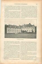 Château & abbaye Notre-Dame-du-Pré de Valmont Normandie GRAVURE OLD PRINT 1901