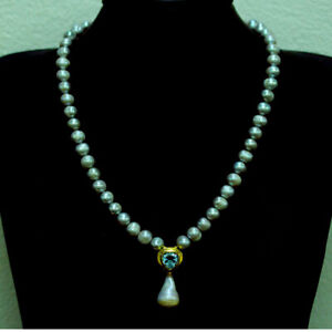 """NATURAL GRAY BAROQUE 'PEARL & NSKY BLUE TOPAZ NECKLACE 18"""" 925 STERLING SILVER"""