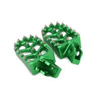 Green CNC Foot Pegs Pedals Rests For Kawasaki KX65 KX85 KX80 KX100 RM65 RM100