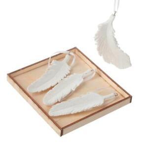 Set Of 4 Glittery Hanging White Feathers Christmas Decoration