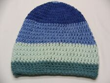 Shades Of Blue - Hand Knit - Kids Size Stocking Cap Beanie Hat!