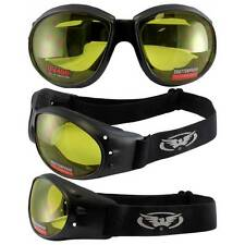 Eliminator Sun Glasses Motorcycle Jet Ski Goggles Black Frame Yellow Lenses