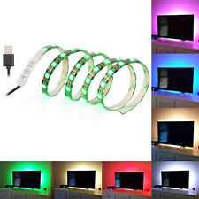 US SOLLED 60LED 5050 RGB 1M Color Changing TV Strip USB PC Back Mood Light HDTV