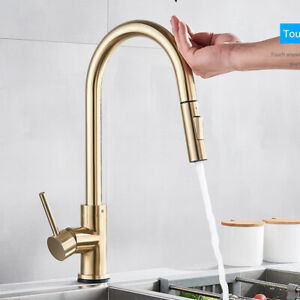 Brushed Gold Smart Sensor Kitchen Sink Faucet Pull Out Mixer Touch Control Tap