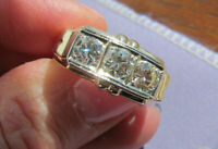Antique Men's Cluster Wedding Ring 3 Stone Round Cut Diamonds 14K Yellow Gold Fn