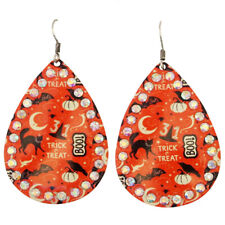 "Multi-Color Hook Earrings 2-1/4"" long Halloween Sparkle Trick or Treat Orange"
