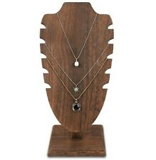 Brown Stained Wooden Adjustable Necklace Chain Jewelry Display Stand 10h