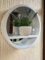 RETRO ROUND PORTHOLE MIRROR WITH SHELF BATHROOM DEEP MIRROR SHELF 31CM WHITE
