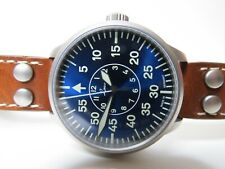 Laco Aachen Blue Dial Automatic Pilot Watch Brown Leather 42mm Flieger