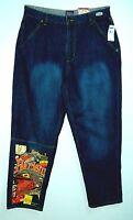 Limited Edition HARLEM GLOBETROTTERS Baggy Sand Wash FUBU PLATINUM Jeans! 34/34