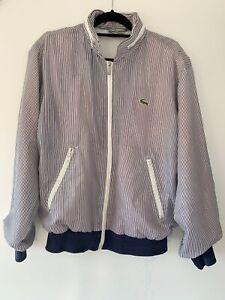 Vintage 80's Chemise LACOSTE 'Andy Pandy' blue striped jacket W Hood Sz 18 (L)