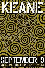 KEANE 2009 PORTLAND CONCERT TOUR POSTER - Alternative Pop, Pop/Piano Rock Music