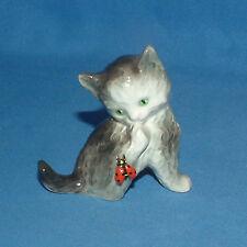 Vintage Goebel Figurine Gray Cat/Kitten w/Ladybug -Germany- Lot2613