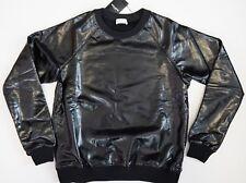 NWT SAINT LAURENT Paris Black SHINY LACQUERED COATED COTTON Sweatshirt Sweater L