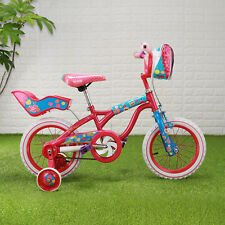 14 Inch Girl Bicycle Red & Pink Bike with Training Wheels for ages 3 to 6 years