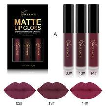 3pcs Long Lasting Matte Liquid Lipstick Waterproof Cosmetic Lip Gloss Kit a