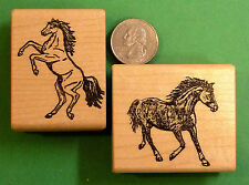 Stallions, Horse Rubber Stamps, Two Wood Mounted