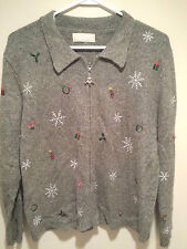Vintage Tacky Ugly Christmas Sweater - Medium Gray Studio Works w/ Measurements!