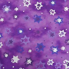 Jewish Judaica Fabric Jubilant Stars on Purple