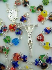 Rare Multi Color 9MM Glass Heart Bead Penance Rosary Rose Center Silver Papal