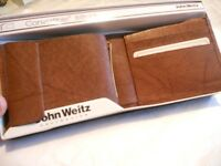 Mens John Weitz Convertible Genuine Leather Wallet,Brown