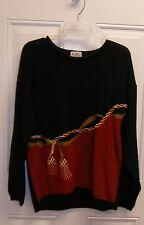 Koret Petites Sweater Black / Red with Tassel M New