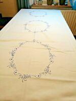 Blaudruck Tischdecke alt Luxemburg Damast 130 x 170 cm neu