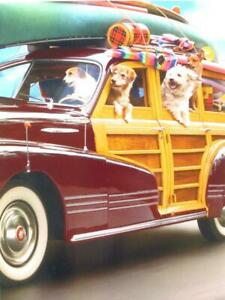 """Follow That Cake!"" AVANTI BIRTHDAY CARD Road Trip Dogs in Vintage Woodie"