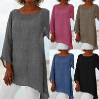 Women Long Sleeve Linen Baggy Blouse Shirt Ladies Summer Tunic Tops Basic CHEN