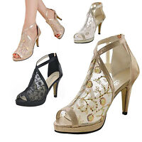 Women Stiletto Platform High Heel Peep Toe Pump Shoe Sexy Lace Mesh Ankle Sandal