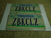 Virginia VA Scenic Mountains License Plates 2009 Pair Set Tags Blue Ridge