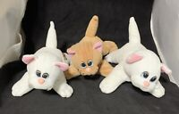 """Lot 3 Pound Puppies Purries Kittens 8"""" Vintage 80's Stuffed Plush Cat Animal Toy"""