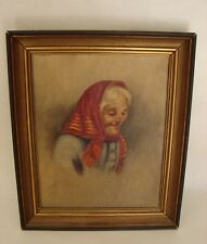 Antique Oil Painting On Canvas by Italian Artist Carlo Ciappa Women Portrait