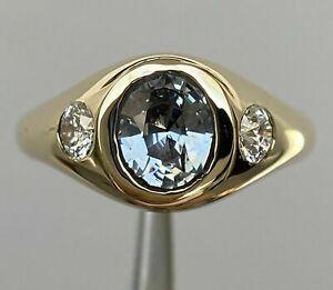 2.1 Ct Aquamarine & Round Diamond Gypsy Ring 14K Yellow Gold Over For Men's