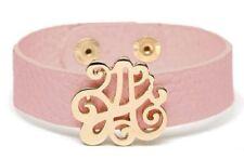 NEW Preppy Goldtone A Initial Monogram Adjustable Pink Leather Cuff Bracelet