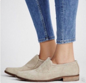 Free People Brady Shoes Slip On Loafers Women Size 39.5 US 9.5 Tan Suede Leather