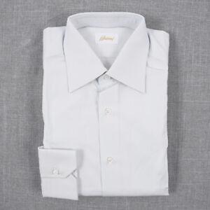 New $675 BRIONI Classic-Fit Pale Blue-Gray Cotton Dress Shirt 15 x 35