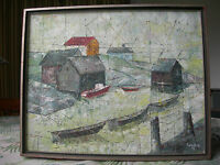 Abstract Oil Painting of Maine Coast