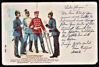 LITHO GERMANY MILITARY PICKELHAUBE UNIFORMS 1900s POSTCARD