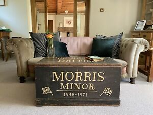 Old Antique PINE CHEST, Wooden Blanket TRUNK, Coffee TABLE, Vintage Storage BOX