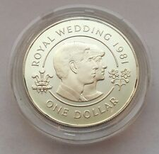 1981 BERMUDA PROOF ROYAL WEDDING ONE DOLLAR SILVER COIN FREE SHIPPING