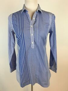 J.MCLAUGHLIN L/S Blue and White Striped Cotton Popover Tunic with Pockets - XS