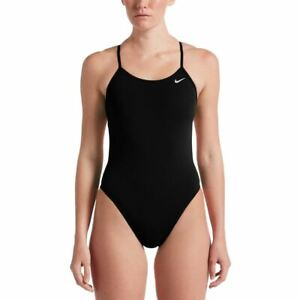 Nike Women's Swimsuit Poly Solid Cut-Out One Piece -  Black