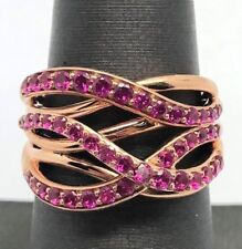Sterling Silver 925 Rose Vermeil Red Ruby Pave Split Swirl Overlap Cocktail Ring